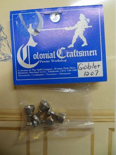 Stieff Williamsburg Colonial Miniature 4 Pewter Goblets #1207 NIP Dollhouse 1/12 #Stieff Z