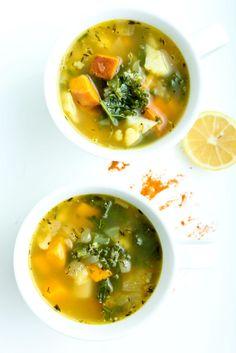 Cold Busting Soup - (Sweet potato, onion, cauliflower, kale, chicken stock, etc. No meat.)