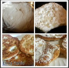 Traditional Bosnian Recipe. 4 cups flour, 2 cups warm water,  2 tablespoons dry yeast. Make a dough and let rise for 45min. Take as big or little pieces as you want and drop it in hot oil. Fry for 2 min on each side. Use any topping( my kids prefer sour cream and pinch of salt) For the rest of the dough make a bread cook at 400 for 20-30min. Leave it to air dry on paper towel for 5-10min. Enjoy