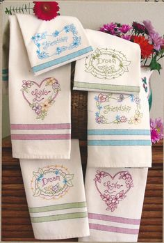 Thoughtful Words with Pretty Flowers on Bright Tea Towels. Embroider These Designs on our Tea Towels with coordinating Bright Colorful ...