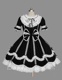 Cheap Lolita Black Cotton White Lace Doll Collar Ruffles Bow Short Sleeves Sweet Princess Dress Sale At Lolita Dresses Online Shop