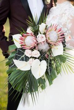 beautiful wedding bouquets with protein and large tropical leaves aislinn kate photography via instagram Tropical Wedding Bouquets, Beach Wedding Flowers, Hawaii Wedding, Bridal Flowers, Floral Wedding, Tropical Weddings, Wedding Ceremony Ideas, Church Wedding, Fall Wedding