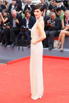 Paz Vega at Venice Film Festival in a Ralph & Russo Fall 2015 Couture Pearl Halter Gown