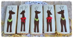 Decorated Reindeer Rudolph the Red Nosed Reindeer Shortbread Sugar Cookie Favors, Red, White, Brown, Green by The Tailored Cookie