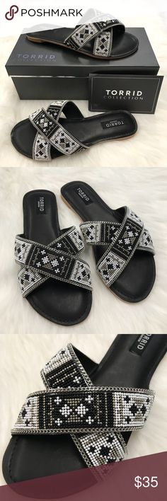 """NEW Torrid Collection Beaded Strap Sandals 10W Gorgeous black, white, and silver beaded crisscross strap sandals from Torrid! From Torrid Collection. Man made upper. Rubber sole. Padded footbed. New with tags, never worn. Comes in box. Smoke and pet free home. 4"""" Wide. 10.5"""" long. torrid Shoes Sandals"""