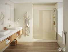 Bathtub & Shower Remodel & Bathtub To Shower Conversion Bathroom Shower Panels, Fitted Bathroom, Steam Showers Bathroom, Bathroom Spa, Bathroom Renos, Bathroom Renovations, Bathroom Updates, Neutral Bathroom, Bathroom Flooring