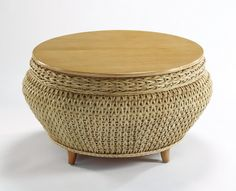 Woven Round Storage Coffee Table