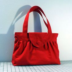 Pleated Handbag with Flap Closure in Red by WhitneyJude on Etsy, $39.00