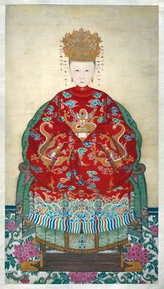 Anonymous - Memorial Portrait of Madame Li, Wife of Kong Chuanduo, Duke for Perpetuating the Sage Qing dynasty - ink and color on silk Traditional Paintings, Traditional Art, Chinoiserie, Chinese Picture, Chinese Style, Chinese Emperor, Art Chinois, Art Asiatique, Korean Art