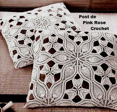 PINK ROSE CROCHET: Almofada Renda Cutwork Lace de Abacaxis em Crochê