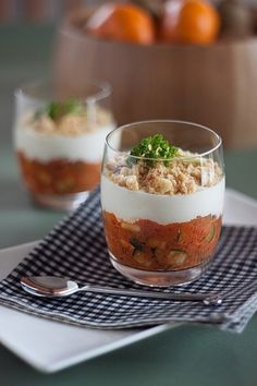 Eggplant and zuccini crumble with goat cheese cream