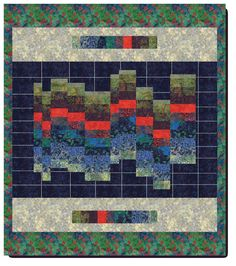Visual Sound Quilt--SSSHHHHH! It's Bargello baby! Created in Moda's Batiks, other colorways coming in solids and an adorable kids print! Perfect description and quilt for a kids room!