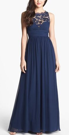 Navy blue chiffon dress. SO pretty! http://rstyle.me/n/mge5nn2bn