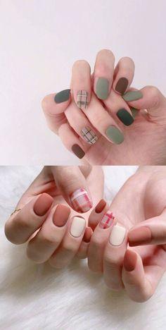 Chic Nails, Stylish Nails, Trendy Nails, Cute Acrylic Nails, Acrylic Nail Designs, Nail Art Designs, Art Nails, Minimalist Nails, Plaid Nails