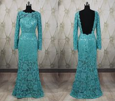 Turquoise lace long prom dress,open back prom dress,long evening party dress,bridesmaid dresses,school party dance dress,formal dress