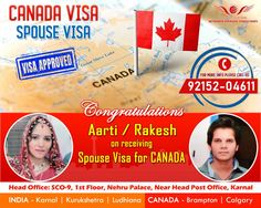Congratulations! Mrs. Aarti w/o Mr. Rakesh on receiving Spouse Visa for Canada  We give Blessing by the whole team of #Networth_Overseas_Consultants #canada #Canada_life #Toronto #Quebec #Canada_visa #punjab #CVC #ICCRC #Vancouver #Montréal #Karnal #haryana Visa Canada, Canada Canada, Quebec, Blessing, Vancouver, Toronto, Congratulations, Life, Visa For Canada