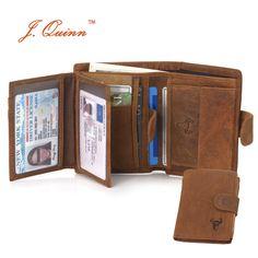J. 퀸 남성 동전 지갑 2 ID 카드 10 지퍼 포켓 가죽 스냅 컬렉션 노란색 남성 지갑 빈티지 Bifold 새로운