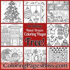 Download Holiday Coloring Pages for adults and grown ups. Over 100 coloring pages filled with details are available with free coloring pages available every month at Coloring Pages Bliss