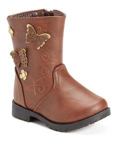 Brown Butterfly-Accent Boot #zulily #zulilyfinds