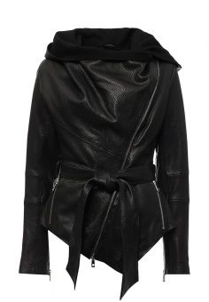 Куртка кожаная Grafinia, цвет: черный. Артикул: MP002XW0DOS3. Женская одежда / Верхняя одежда / Кожаные куртки