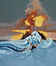 Pele, goddess of fire, battles her sister, Namakaokaha`i, goddess of the sea