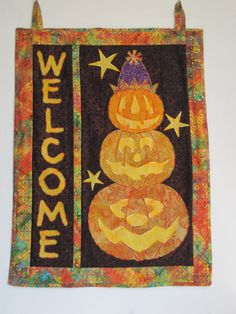 Pumpkin Welcome Wall Hanging  Batik  32 1/2 by BatiksBySandcastle