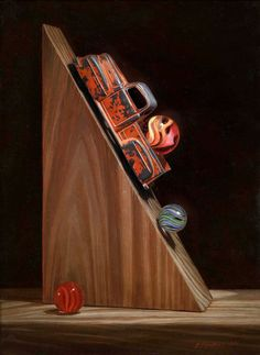 Teresa N. Fischer was born in Terre Haute, Indiana in Teresa recalls the magic of childhood and yesterday in her finely det. Still Life Artists, Hyper Realistic Paintings, Still Life Oil Painting, Photorealism, Antique Toys, Old Toys, Life Is Beautiful, Be Still, Childhood