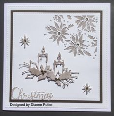 By Dianne Potter: Memory Box Glowing Candles die,middle candle snipped out,Tim Holtz Christmas Mixed Media die,Sue Wilson Noble Squares and stars die,Trimcraft First Edition Winter Wishes papers. Christmas Mix, Christmas Things, Christmas Candles, Christmas Crafts, Xmas, Memory Box Cards, Memory Box Dies, Christmas Cards 2018, Holiday Cards