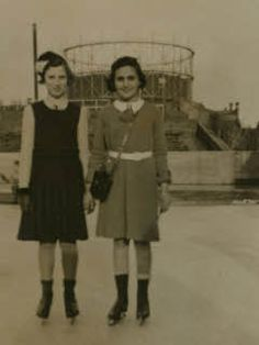 Margot Frank and her friend Hetty Ludel at the skating rink in Amsterdam