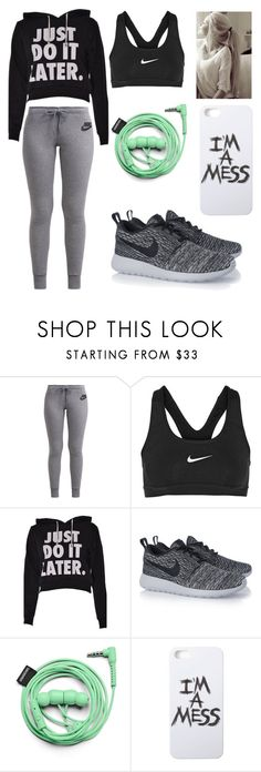 """What I'll wear to exercise (if that ever happens)"" by melanietorresco ❤ liked on Polyvore featuring NIKE, Urbanears and LAUREN MOSHI"