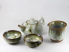 Verdant landscape Ru Ware Tea Set by RuKilnHandmade on Etsy