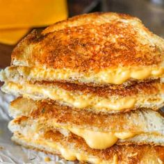 A golden crust and loads of melted cheese make up the best grilled cheese sandwich! Add a side of tomato soup for the perfect lunch recipe! Grilled Cheese Recipes Easy, Best Grilled Cheese Sandwich Recipe, Grilled Cheese Rolls, Ultimate Grilled Cheese, Perfect Grilled Cheese, Bread Recipes, Sandwich Appetizers, Steak Sandwiches, Grilled Cheeses