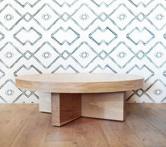 """The """"George"""" coffee table is made from Solid White Oak, designed by us and hand made right here in Los Angeles. Dimensions: 46"""" Diameter, top piece is 3.35"""", a"""