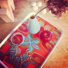Boho tray RED PEAR by Wesna Wilson