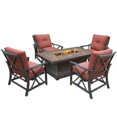 Oakland Living Corporation Cascadian 5-piece Red Lava Rock Gas Firepit Table Chat Set with 4 Cushioned Rocking Chairs (Antique Bronze), Brown, Outdoor Décor (Aluminum)