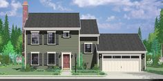 House front color elevation view for 9952 Colonial House Plan 3 Bedroom, 2 Bath, 2 Car Garage