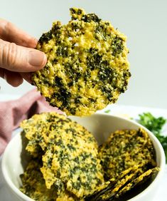 Four Ingredient Parmesan Kale Crisp. These Four Ingredient Parmesan Kale Crisps take less than 10 minutes to make for a tasty low carb snack. Kale Chip Recipes, Veggie Recipes, Low Carb Recipes, Vegetarian Recipes, Snack Recipes, Cooking Recipes, Healthy Recipes, Baked Kale Recipes, Recipes With Kale