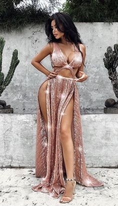 fashion blush sequined long prom dresses, sexy v neck party dresses with split, simple a line long evening gowns