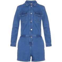 Vanessa Bruno Athé Elanore stretch-denim playsuit ($293) ❤ liked on Polyvore featuring jumpsuits, rompers, denim, blue romper, blue jumpsuit, blue rompers, playsuit romper and summer jumpsuits