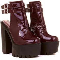 Safa Patent Double Buckle Boot in Burgundy ($27) ❤ liked on Polyvore featuring shoes, boots, ankle booties, heels, burgundy, side zip boots, patent leather booties, heeled ankle booties, burgundy booties and heel boots