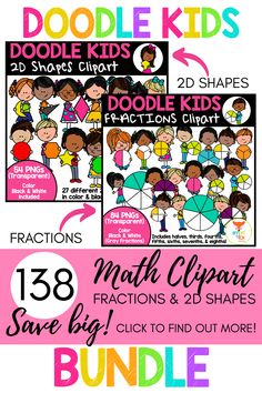 This bundle of cute and vibrant clipart features doodle kids holding fractions and 2D Shapes. The kit includes 138 images, 69 color and 69 Black & White, making it perfect for math worksheets! Click to find out more!  #teacherspayteachers #doodle #fractions #math #shapes Math Worksheets, Math Resources, Math Clipart, Crisp Image, Elementary Math, Fractions, Middle School, How To Find Out, Doodles