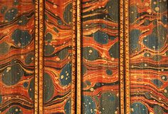 Paper Marbling   An example of paper marbling on the endpapers of a book located in Western Archives.