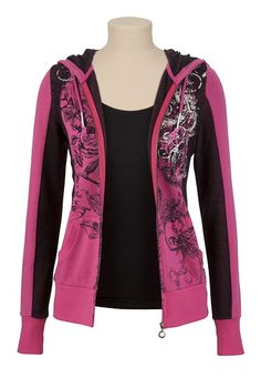 Screen Print Hooded Sweatshirt with Rhinestones available at #Maurices