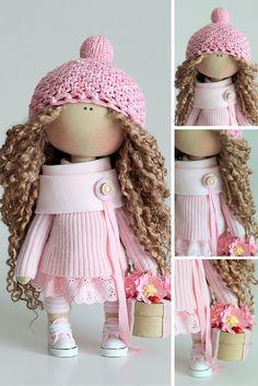 Textile doll handmade Fabric doll Tilda doll rose pink color Soft doll Cloth…
