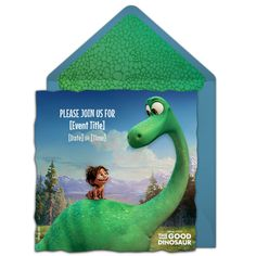 Free Good Dinosaur invitation | The Disney Online Invitation Collection. Perfect for inviting friends to see the premiere, or a Good Dinosaur birthday party! #gooddino