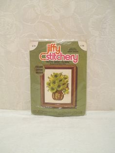 Vintage Jiffy Stitchery Kit, Petite Green Floral No. 248, Crewel Embroidery Kit, Mod Green Flowers, 1975 Crewel Picture  Betty Miles Design by LuckyPennyTrading on Etsy