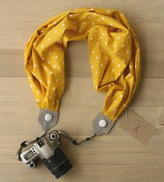 Mustard Yellow Scarf Camera Strap by Bluebird Chic on Scoutmob