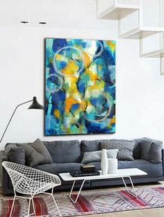 Extra Large Wall Art Blue Textured Abstractchristovart On Etsy Delectable Large Artwork For Living Room Decorating Design