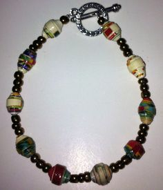 MultiColored Recycled Paper Bead Bracelet with by DianesPaperBeads, $15.00