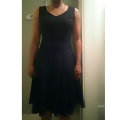 """Black sparkly dress Black dress with straps  37.5"""" Heavier fabric  Subtle sparkles all over dress Beautiful  Makes the perfect twirling dress ?? Size 7 A little big + stretchy fabric  Excellent condition,  like new Dresses Midi"""